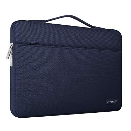 MOSISO 360 Protective Laptop Sleeve Compatible with MacBook Pro/Air 13 inch, 13-13.3 inch Notebook Computer, Polyester Briefcase Bag with Trolley Belt, Navy Blue