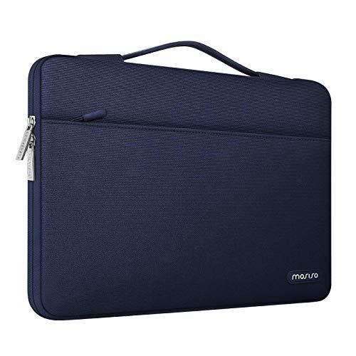 MOSISO 360 Schutz Laptop Aktentasche Kompatibel mit MacBook Pro 16 Zoll, 15 15,4 15,6 Zoll Dell Lenovo HP Asus Acer Samsung Sony Chromebook, Polyester Stoßfeste Tasche mit Trolley Gürtel, Navy Blau