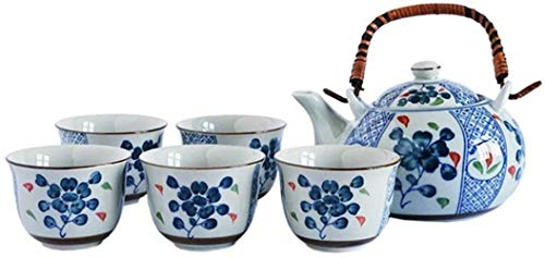 Home tea set Simple Japanese Style Teapot With Handle And Tea Cups Set Service For 5 Adult Beautifully Packaged In Gift Box Excellent Home Decor Asian for Tea Coffee Home Kitchen Office Garden,Size:On