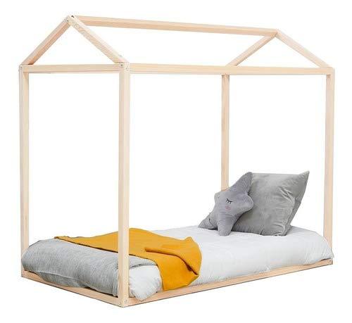 COCO | Cama armable Nórdica en Forma de casa tamaño Cuna Estructura de Madera de Pino estílo Montessori