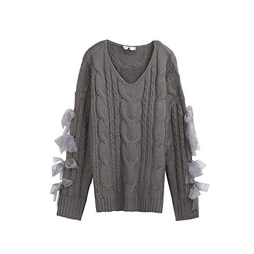 YANGPANGZI Primavera y otoño Nueva Blusa de Mujer de Estilo Coreano con suéter de Cinta Extra Gruesa