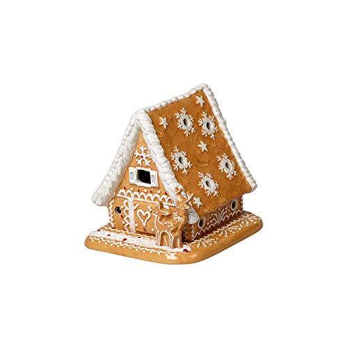 Villeroy & Boch Winter Bakery Deocoration Lebkuchenhaus, Hartporzellan, braun, weiß, 15x13x14