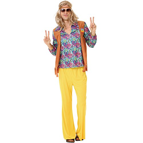 Groovy Hippie Men's Halloween Costume 60's Hazy Psychedelic & Funky Outfit, Yellow, X-Large