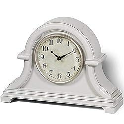 PresenTime & Co Vintage Farmhouse Table Clock Series Napoleon Mantel Clock,13 x 10 inch, Domed Lens, Quartz Movement, Gray Cream Color.
