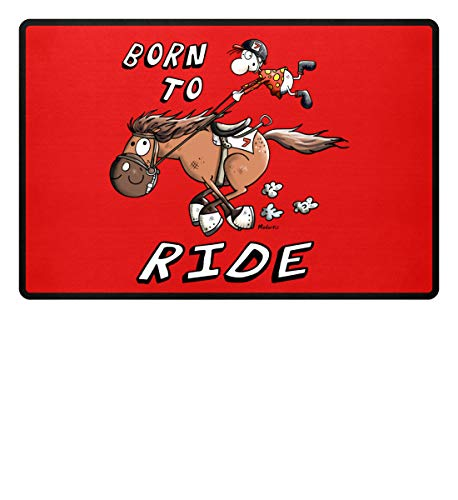 Shirtee Born To Ride – divertido caballo de carreras Comic – Jinete caballo diseño – Caballo dibujos animados – Felpudo – 60 x 40 cm color rojo