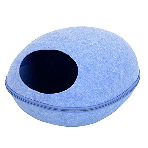 XJZxX Kennel - Pet Egg Round Nest - Kleiner Hund Haustier Katze Haus Katzennest Pet Nest Rest Supplies 18.8x15.3x10.2 In (Color : Blue)
