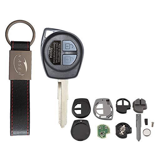 KASER Llave Mando Coche Electrónica 2 Botones Compatible para Suzuki Swift SX4 Alto Vitara Jimny Ignis Splash Lama HU87 (433MHz ID46 Chip) Transponder Listo para Programar