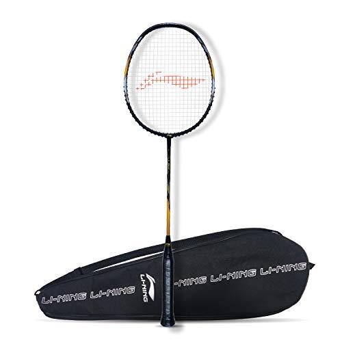 Li-Ning G-Force 3900 Superlite (AYPQ114-5) Carbon-Fiber Graphite Strung Badminton Racquet with Free Full Cover(Set of 1,Black/Gold)