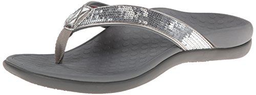Vionic Women's Tide Sequins Toe Post Sandals - Ladies Flip Flop Sandals with Concealed Orthotic Arch Support Silver 10 Medium US