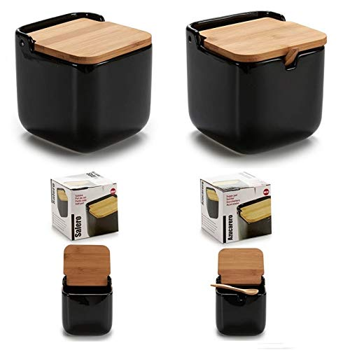 D,casa - Salero y azucarero de Cocina Negro Basic con Tapa de Bambu, azucarero cucharita Incluido