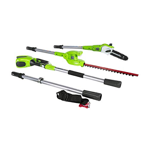 Greenworks 8.5' 40V Cordless Pole Saw with Hedge Trimmer Attachment, Battery Not Included PSPH40B00,Black and Green
