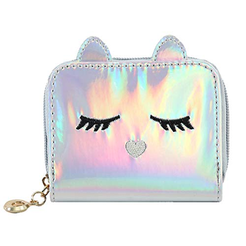 huamaojiancai Brilliant Girl Women Fashion PU Laser Wallet Lady Laser Short Card Bag Cat Cartoon Card Holder Wallet Student Laser Key Coin Bag Women Short Handbag (None Picture Color)