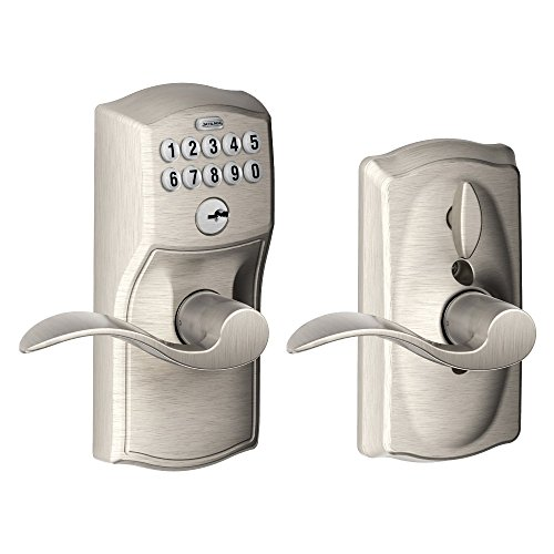 Schlage, Satin Nickel FE595VCAM619ACC Camelot Keypad Entry with Flex-Lock and Accent Levers