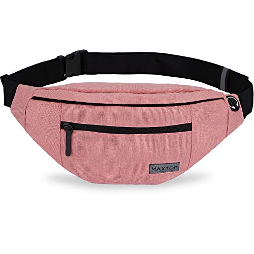 Large Pink Fanny Pack with 4-Zipper Pockets Water-Resistant Adjustable Straps Waist Pack Bag for Women Girl,Gifts for Enjoy Festival Sports Workout Traveling Running Casual Hands-Free Wallets