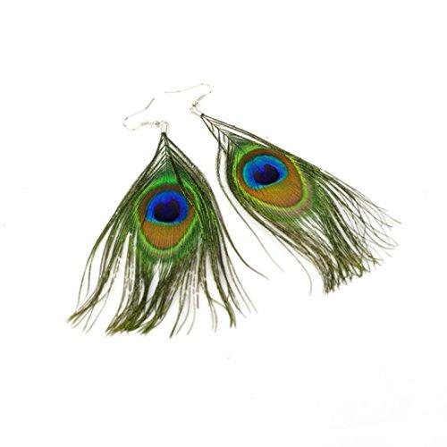 Clearance Deal! ¡Venta caliente! Pendientes, Fitfulvan 2018 estilo de plumas de pavo real con gancho de plata para mujer, pendientes colgantes con forma de lágrima