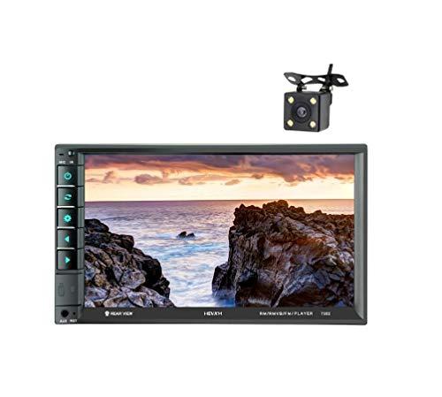 LWTOP Stéréo de Voiture Double DIN, 7 Pouces écran Tactile dans Dash Voiture récepteur Radio Audio Lecteur vidéo Prend en Charge Bluetooth/TF/USB/AUX/avec caméra de recul