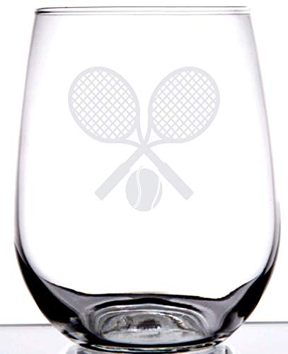 Tennis Lovers Stemless Wine Glass | Charming Laser Etched Wine Glass | Perfect for Men Women or Partners Players | Birthday | Anniversary | Christmas