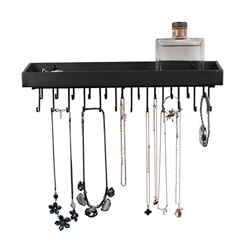 JACKCUBE DESIGN Hanging Jewelry Organizer with 23 Hooks, Wall Mounted Necklace Bracelet Earring Holder Hanger with Shelf (Black, 14.37 x 2.95 x 3.86 inches) - MK208A