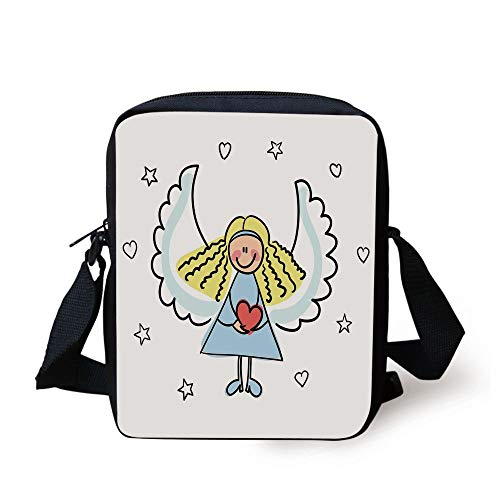 FAFANIQ Xmas,Cute Little Girl with Wings Red Heart Stars Angel Blessing Heaven Holiday Decorative,Black White Pale Blue Print Kids Crossbody Messenger Bag Purse