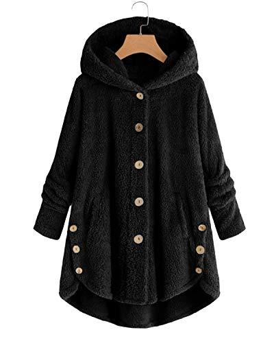 VONDA Abrigo de forro polar para mujer con capucha cómoda y larga...