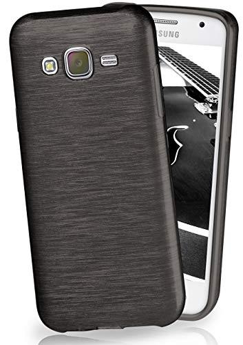MoEx® Funda de Silicona con Aspecto Aluminio Cepillado Compatible con Samsung Galaxy J5 (2015) en Noir