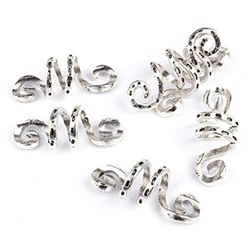 5 piezas vintage metal plateado Viking espiral trenza de pelo temor barba rasta perlas Rngs tubo clips para accesorios para el cabello (5 piezas)