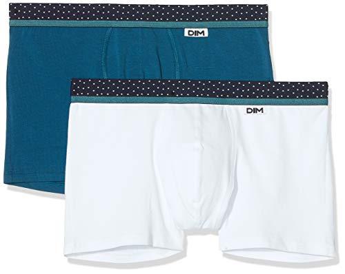 Dim Herren Boxer Mix & Dots X2 Boxershorts, Mehrfarbig (Blanc/Bleu Minuit 97h), Large (Herstellergröße: 4) (2er Pack)