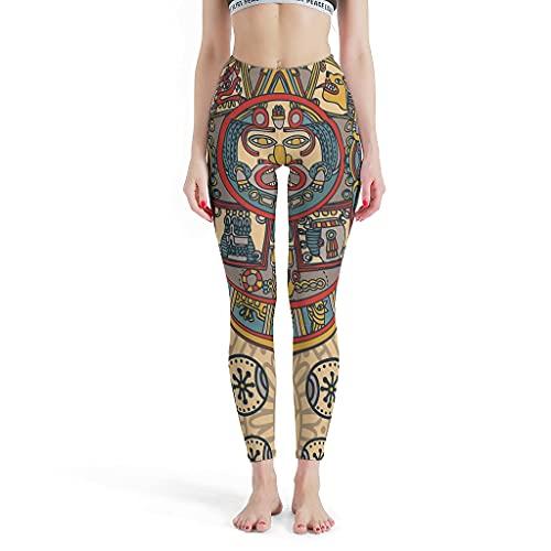 GOLUM Damen Leggings im antiken indischen Maya-Design, dünn, elastisch, für Laufen und Yoga Gr. S, weiß