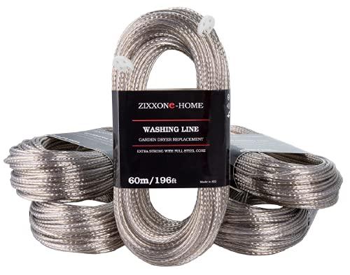 ZIXXONE-HOME Cuerda de Tender 60 m Ropa con 2 tensores Línea de lavado resistente Cuerda extra larga fuerte exterior Secador giratorio de jardín Línea de repuesto núcleo de acero completo Transparente