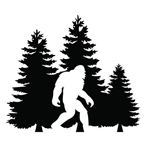 Bigfoot Trees Forest Vinyl Decal Sticker Car Truck Van SUV Window Wall Cup Laptop - One 5.5 Inch Black Decal- MKS0678B
