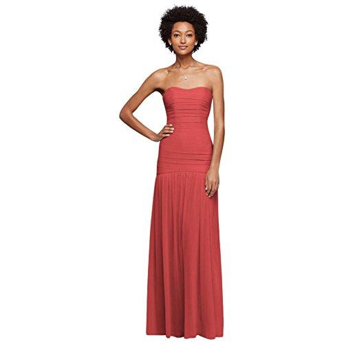 David's Bridal Long Fit and Flare Mesh Bridesmaid Dress Style F18076, Guava, 22