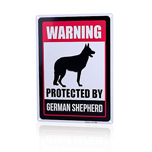 Dxyizus SIGNS Beware of Dog Sign Will Bite,Beware of German Shepherd Dog Sign 14x10 inch Rust Free Aluminum, UV Printed, Easy to Mount Weather Resistant Long Lasting Ink for Fence…