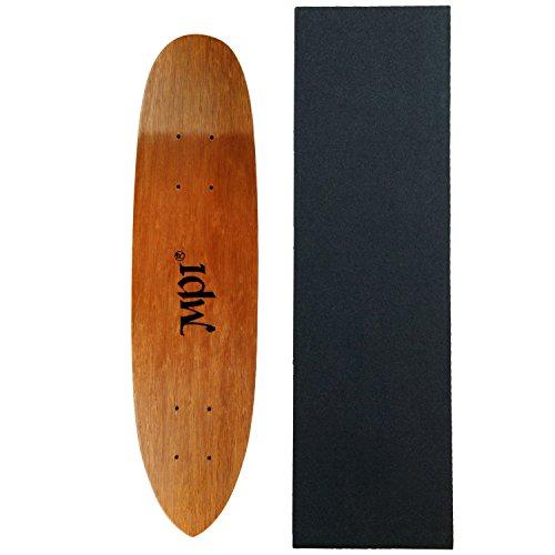 MPI Vintage Old School Skateboard Deck Dark Wood Kicktail Cruiser with Griptape