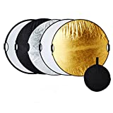 5 in 1-60cm Fotografie Faltreflektor Set Reflektor Diffusor mit 2 Griff und Tragetasche (Rund) Gold, Silber, Weiß, Schwarz und transparent für Studio und Foto Diffusor