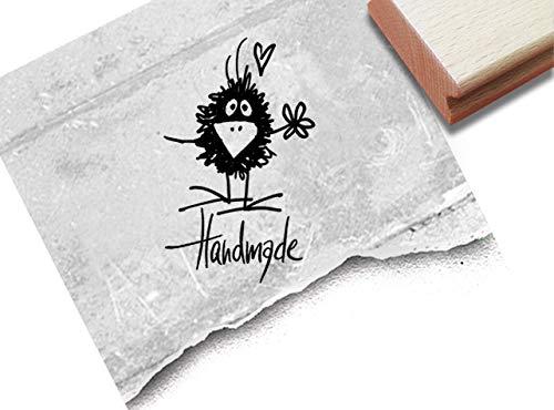 Stempel Textstempel Handmade mit Rabe - Schriftstempel Karten Geschenkanhänger Etiketten Schilder selbst gemacht Geschenke dekorieren - zAcheR-fineT