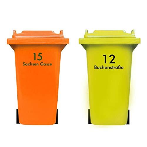 DSD Supplies ltd. Personalisierter MÜLLTONNENAUFKLEBER mit HAUSNUMMER und STRAßENNAMEN | senden Sie Uns Ihre Vorgaben, wir fertigen Ihren individuelle Mülltonnen Sticker, wetterfest, UV-beständig