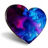 Posavasos con forma de corazón MDF, color rosa y azul ahumado, color rosa