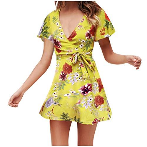 Sunhusing Womens Boho Floral Print Short Sleeve Waist Belted Lace-Up Casual Beach Holiday Mini Dress Yellow