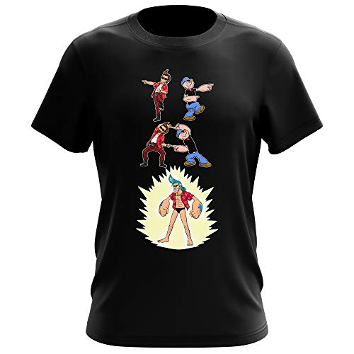 T-Shirt Noir One Piece - Popeye parodique Franky, Ace Ventura et Popeye : Fusion YAHAAAAA !!! (Super Splendide :) (Parodie One Piece - Popeye)