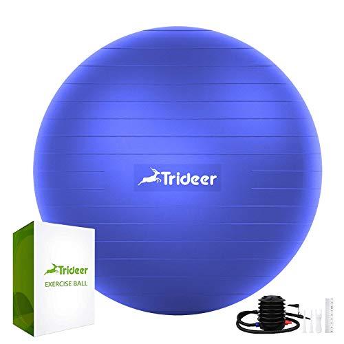 Trideer Gymnastikball (45-85 cm), extra Dicker Yoga-Ballstuhl, bruchsicher, strapazierfähig, mit Schnellpumpe (Büro & Zuhause & Fitnessstudio), Indigo Blue New B, 65cm