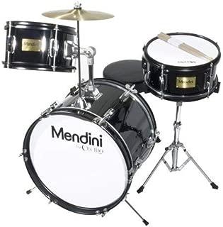 Mendini by Cecilio 16 inch 3-Piece Kids/Junior Drum Set with Adjustable Throne, Cymbal, Pedal & Drumsticks, Metallic Black, MJDS-3-BK