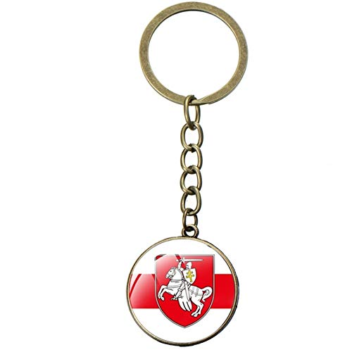 LINGNING Keychains White Knight Art Picture Glass Dome Car Keychain Metal Key Chain Ring Jewelry Gifts (Color : Style 40)