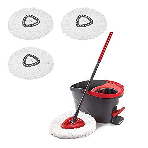 Vileda Easy Wring & Clean Juego de Fregona con Palo telescópico y Cubo Escurridor Giratorio con 3 recambios adicionales, Negro/Rojo + Producto de Limpieza Multiusos para el hogar