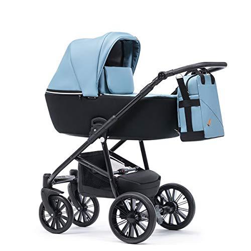Krausman Kinderwagen 3 in 1 Verano Lux Blue Kombikinderwagen Babyschale Babywanne Sportwagen Design Made In Germany