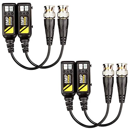 Greluma 2 Pares 8MP pasivo HD BNC Video Balun Transmisor Transmisor AHD/TVI/CVI/CVBS Conectores de cable para cámaras de seguridad CCTV 4K 720P / 960P / 1080P / 3/4/5 / 8MP