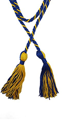 Two-Color Braided Honor Graduation Cords (Royal Blue&Gold-Blocked Tassel)
