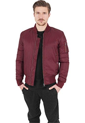 Urban Classics Basic Bomber Jacket Homme, Rouge (Burgundy 606)., L