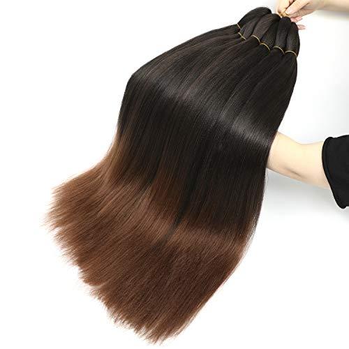 Pre Stretched Braiding Hair 8 Packs Easy Braid Hair, Hot Water Setting Professional Soft Yaki Texture Crochet Twist Kanekalon Ombre Braiding Hair Extensions (26'', 1B/30)