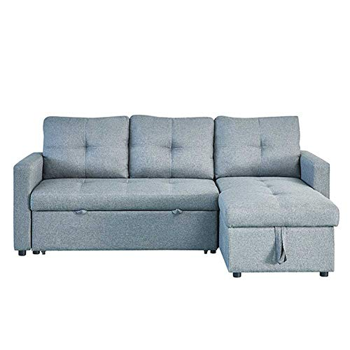 Couch Sleeper, 3 in 1 Compact Velvet Sofa Couch with Pull Out Bed and Large Storage Space, Modern Soft Loveseat Bed for Living Room or Bedroom,Gray