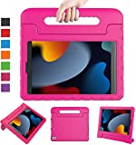 LTROP New iPad 9th Generation Case, iPad 8th Generation Case, iPad 7th Generation Case for Kids, iPad 10.2 Case 2021/2020/2019, Shockproof Handle Stand Kids Case for iPad 9/8/7 Gen 10.2-Inch,Hot Pink